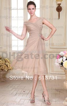 Wholesale - 2012 New Sexy V-neck Chiffon Off The Shoulder Beading Ruched Mother Of The Bride Dresses Knee Length $109.60