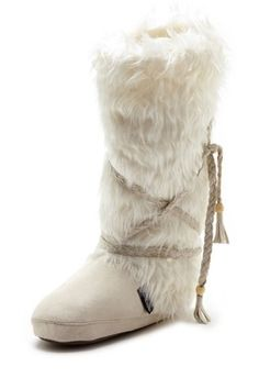 kinda like-Faux Fur Legwarmer Boot - Ivory