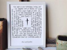the 23rd psalm  Handlettered Scripture Art by JoyfulPapery on Etsy