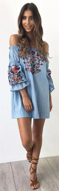 #spring #outfits Blue Floral Off The Shoulder Dress + Brown Sandals