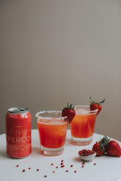 Strawberry Pink Peppercorn Margarita (Mocktail too! Easy Cocktails, Summer Cocktails, Virgin Margarita, Silver Tequila, Strawberry Syrup, Lime Wedge, Non Alcoholic, Cravings, Tasty