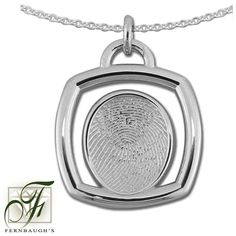 Sterling Silver Square, or 14K White Gold - 14mm Fingerprint - (Sterling Silver includes chain, 14K White gold does not include chain) $229.99 Fingerprint Jewelry, Pocket Watch, Gold Necklace, White Gold, Sterling Silver, Chain, Accessories, Yellow, Gold Pendant Necklace