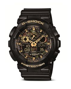 G-Shock Camo Dial Black Watch, 55mm | Resin | Imported | Case size: 55 x 51.2 x 16.9mm | Buckle closure | Water resistant to 200 meters | Analog-digital quartz movement, shock and magnetic resistant,
