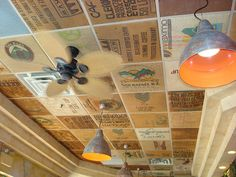Ceiling made out of coffee sacks, Yellow Cup Cafe near Toronto (Ontario) by MariyaZ, via Flickr