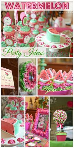 So many cute ideas at this watermelon 1st birthday for a girl. Perfect theme for an upcoming summer party! #watermelon #girlbirthday #kidsparties