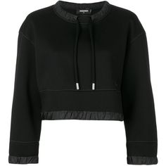 Dsquared2 cropped drawstring sweatshirt ($590) ❤ liked on Polyvore featuring tops, hoodies, sweatshirts, black, long sleeve sweatshirts, sport sweatshirts, loose sweatshirt, sports sweatshirts and loose crop top