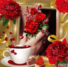 Good Morning I love you Good Morning Coffee Gif, Good Morning Gif, Good Morning Wishes, Good Morning Images, Beautiful Gif, Beautiful Roses, Passion Gif, Coeur Gif, Les Gifs