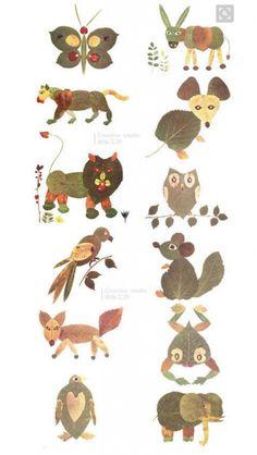 Source : M.Duitang Source : M. Autumn Leaves Craft, Autumn Crafts, Autumn Art, Nature Crafts, Toddler Crafts, Preschool Crafts, Crafts For Kids, Dry Leaf Art, Leaf Animals