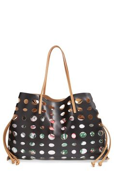 POVERTY FLATS by rian Perforated Faux Leather CInch Tote Printed Bags d3f6740297900