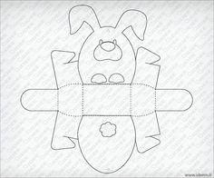 Easter bunny shaped box vector template free :: Ideem - Idee Montabili