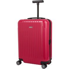 RIMOWA Salsa Air four-wheel cabin suitcase 55cm ($525) ❤ liked on Polyvore featuring bags, luggage and rubin red