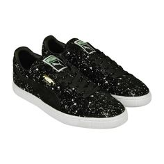 142a7cb5971 Puma Suede Classic Black Splatter Mens Black Suede Lace Up Sneakers Shoes