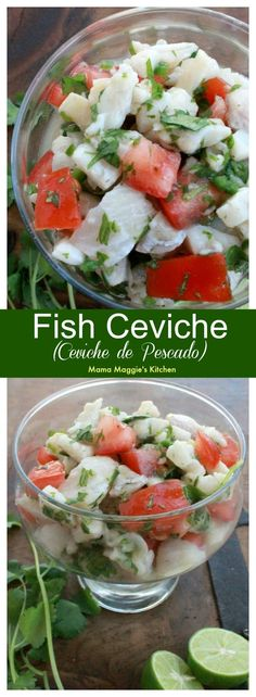 Fish Ceviche, or Ceviche de Pescado, is the perfect warm weather food. You never feel heavy after you eat it. It's full of all my favorite Mexican flavors. by Mama Maggie's Kitchen #ceviche #fishceviche #seafood #mexicanfood #mexicanrecipes #mexicancuisine #healthy