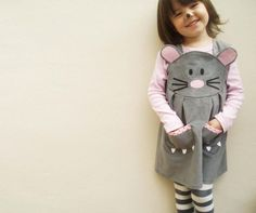 Baby Mouse Character Play Dress by Wild Things Funky Little Dresses Baby Mouse, Cute Mouse, Sewing For Kids, Baby Sewing, Little Dresses, Girls Dresses, Mouse Costume, Creation Couture, Halloween Dress