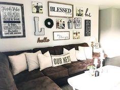5 Simple Ways to Decorate Rustic Farmhouse is part of Farmhouse Living Room Pictures - I recently put together a tutorial on 5 simple ways to decorate farmhouse style, using simplicity and minimal items I shared how using bigger items will requir… Home Living Room, Living Room Designs, Gallery Wall Living Room Couch, Living Room Picture Ideas, Living Room Wall Decor Ideas Above Couch, Rustic Living Room Decor, Wall Behind Sofa, Brown Couch Living Room, Room Ideas