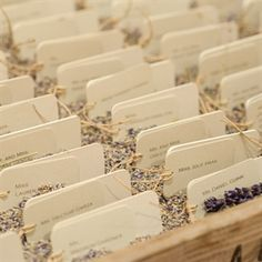 Lavender Filled Escort Card Display (like the idea of sitting cards into a box filled with something to hold them in place)