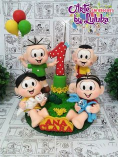 Turma da Mônica Number Cake Toppers, Number Cakes, Gum Paste, Fondant, Biscuits, Birthday Cards, Alice, Snoopy, Clip Art