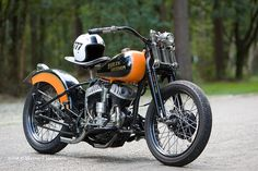 Harley Davidson with signature orange and black paint.