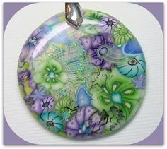 Flower Garden Faux Dichroic Pendant, Silver Chain Necklace, polymer clay. in my Etsy Shop
