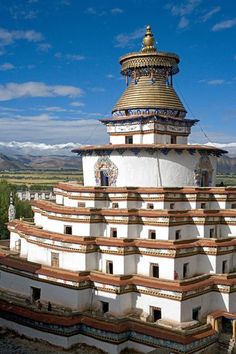 This is the Great Gyantse Kumbum at Palkhor Monastery, Gyantse, Tibet.