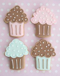 Pink Turquoise Cupcake Cookies@Cake Journal