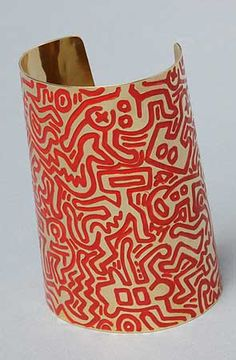 Keith Haring Cuff: gold plated and enameled