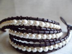 Triple wrap Leather Faux Pearl bracelet by VintageLover818 on Etsy, $20.00