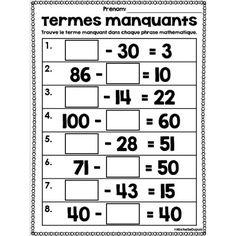 Termes manquants Maths 3e, Primary Maths, School Organisation, 3rd Grade Math Worksheets, Math Sheets, Math Numbers, Brain Teasers, Elementary Math, Boy Names