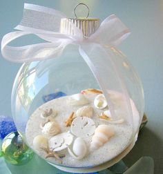 Make beachy ornaments.