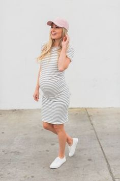 0e98f0bacd6d8 Ivory Grey Striped Fitted Short Sleeve Maternity Dress