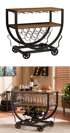 The party doesn't truly start until the Wembley Wine Cart rolls in. Inspired by classic bar carts, this metal-framed design sports a chicly curved silhouette that's set on a retro-style set of wheels. ...  Find the Wembley Wine Cart, as seen in the Mission Industrial Collection at http://dotandbo.com/collections/mission-industrial?utm_source=pinterest&utm_medium=organic&db_sku=126902