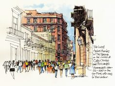 Urban Sketchers: Cuba (Hemingway wrote parts of many his novels from room 511 in the Hotel Ambos Mundos in Old Havana)