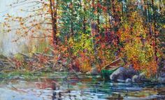 Bev Rodin - Beaver Dam & Portage 30 x acrylic/canvas Beaver Dam, Acrylic Canvas, Rodin, Landscapes, Abstract, Gallery, Artist, Artwork, Painting