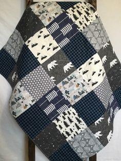 Baby Boy Quilt-Woodland Quilt-Buffalo Plaid Quilt-Adventure Awaits-Bear-Arrow-Mountains-Boy Crib Bedding-Constellation-Flannel-Boy Blanket by SewAndArrowQuilts on Etsy https://www.etsy.com/listing/506854273/baby-boy-quilt-woodland-quilt-buffalo
