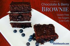 Low carb chocolate berry brownie has no sugars, gluten, grains. It's low carb and incredibly easy to make. Try low carb chocolate berry brownie today.