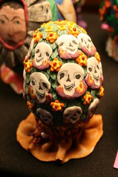 One of Aleta Gray's day of the dead decorated  eggs.  Polymer clay canes and lots of patience!