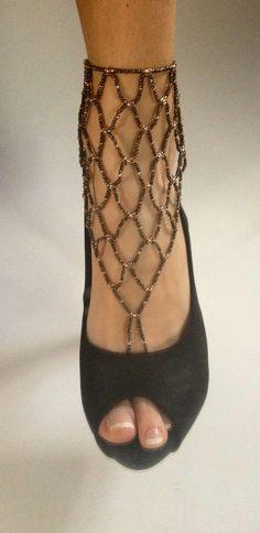 Bohemian Barefoot Sandals. Fine Foot Jewelry. Beach Sandals