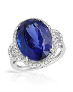 Gorgeous tanzanite surrounded by diamonds.