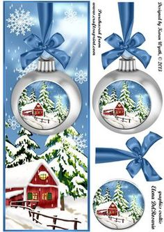 Lovely Christmas Bauble Scene DL on Craftsuprint designed by Karen Wyeth - A pretty Large DL quick card topper with additional bow and bauble decoupage items. xk - Now available for download!