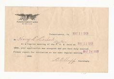 1909 Invitation for Membership Fraternal Order of Eagles Punxsutawney   eBay