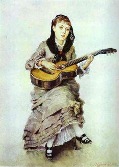 Woman With Guitar. Portrait of S.A. Kropotkina, née Charet(?)