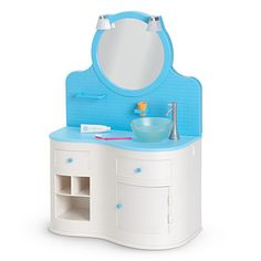 The Bathroom Vanity is a My American Girl accessory set released in 2010 and retired in 2014. Retail cost is $68.