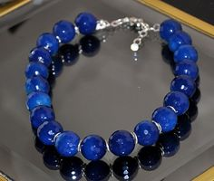 Beaded chunky blue agate necklace in sterling by jewelrybyirina, $66.50