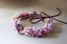 Couronne violette vraies fleurs stabilisées : Accessoires coiffure par asami-fleur