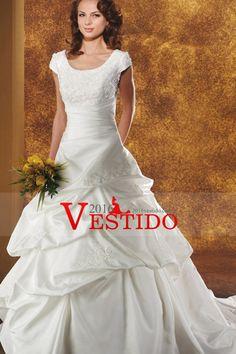 2016 vestidos de novia de una línea de la cucharada del estiramiento del satén…