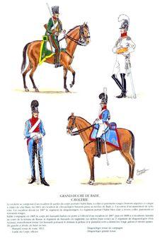 Baden; Cavalry, From Top Left Clockwise- Hussar, Tenue de Route 1812. Garde Du Corps, Officer. Light Dragoon Grande Tenue & Light Dragoon Tenue de Campagne