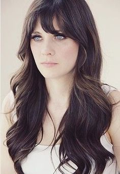 Long Wavy Brunette Hairstyle with Bangs....