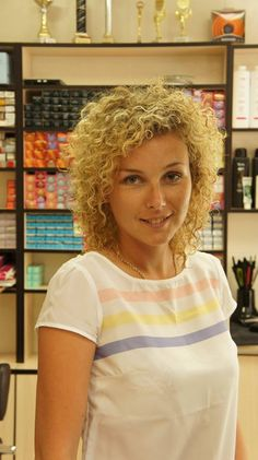 perm with tighter curls in shoulder length hair