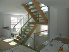 Glass Railings, Balconies and Stairs Ottawa - Centennial Glass Veranda Railing, Patio Railing, Steel Railing, Staircase Railings, Staircase Design, Railing Ideas, Glass Railing System, Modern Properties, Glass Stairs