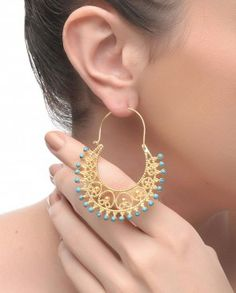 Crescent Earrings with Turquoise Beads